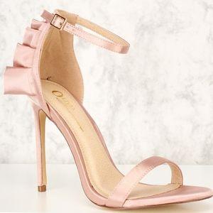 Champagne Satin Ruffle Detail Open Toe High Heels